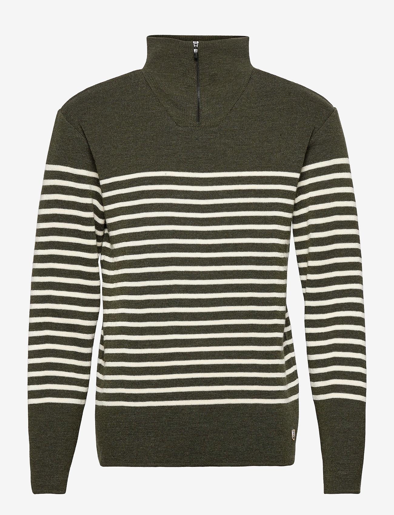 Armor Lux - Striped Mariner Sweater Héritage - half zip - epicea chiné/nature - 0
