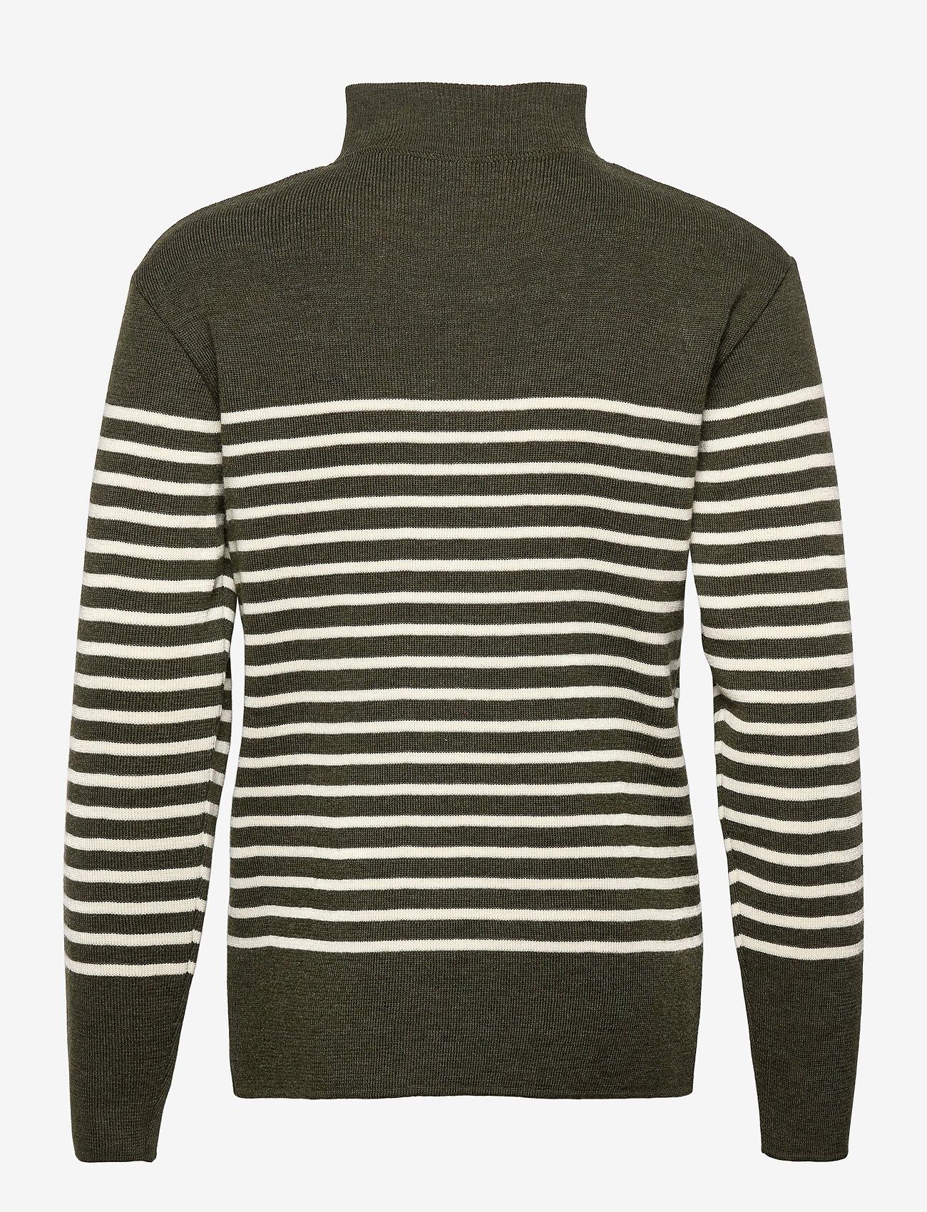 Armor Lux - Striped Mariner Sweater Héritage - half zip - epicea chiné/nature - 1