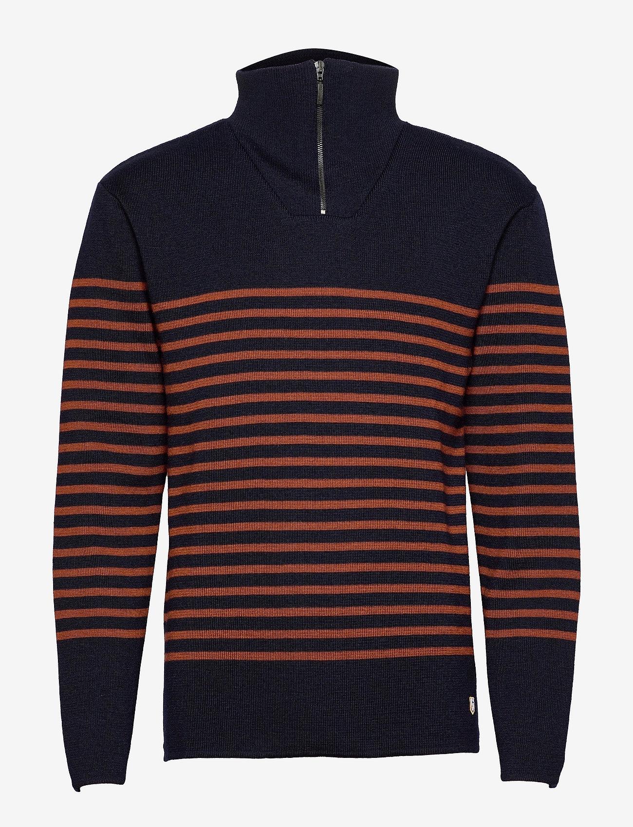 Armor Lux - Striped Mariner Sweater Héritage - half zip - navy/séquoia - 0