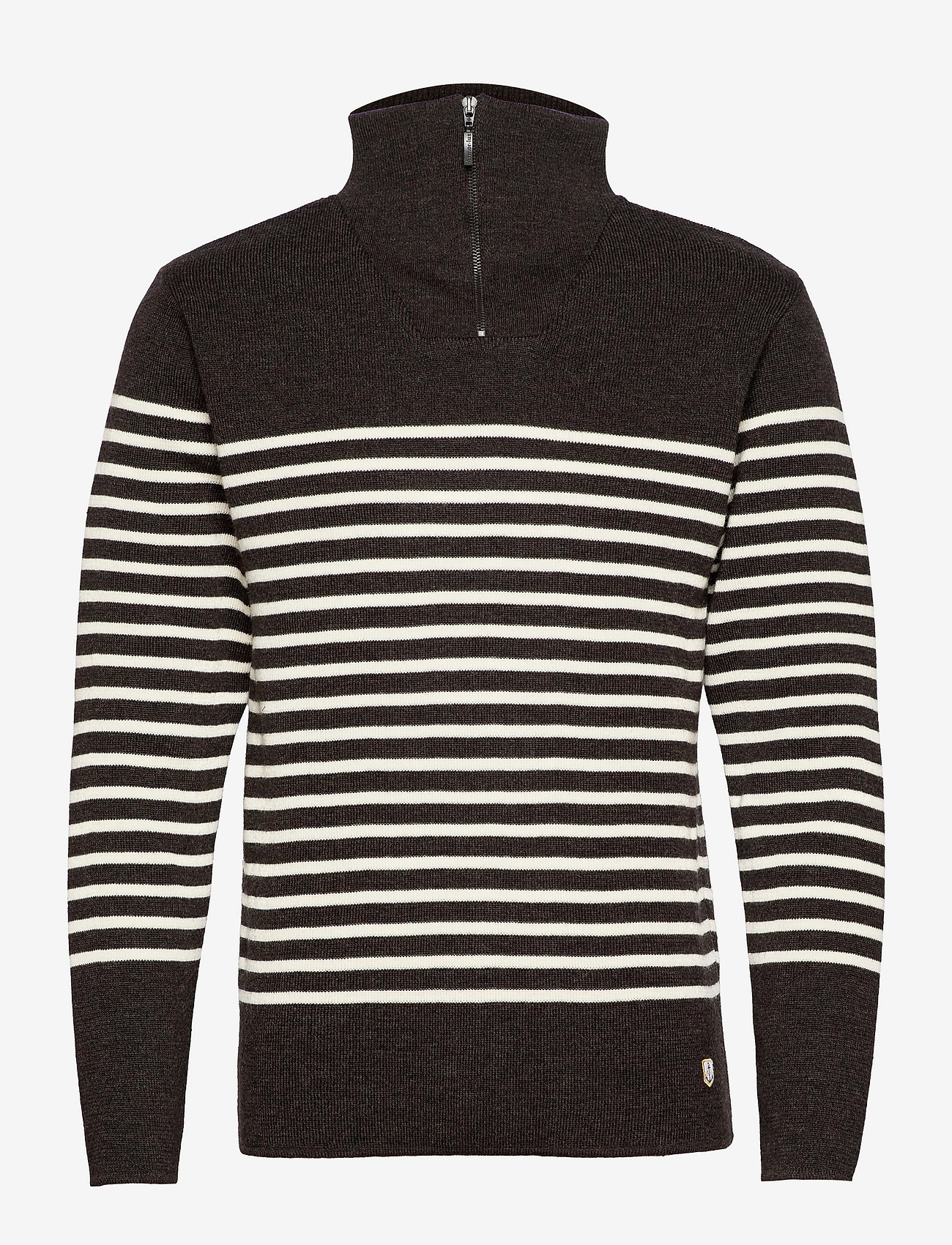 Armor Lux - Striped Mariner Sweater Héritage - half zip - rusty red chiné/nature - 0
