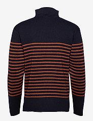 Armor Lux - Striped Mariner Sweater Héritage - half zip - navy/séquoia - 1