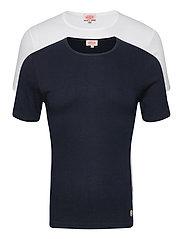2 Pack T-Shirt - WHITE/NAVY