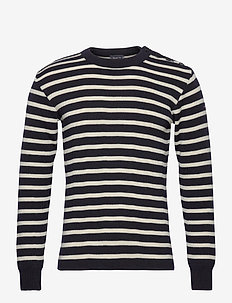 STRIPED MARINER SWEATER - swetry - navy/nature