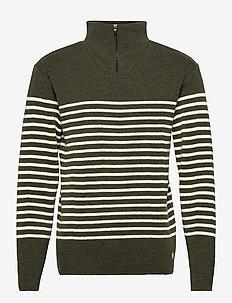 Striped Mariner Sweater Héritage - half zip - epicea chiné/nature