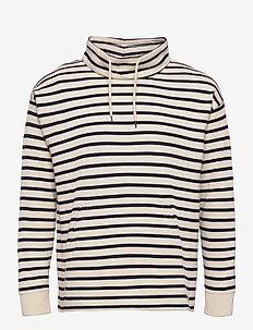 Striped High collar Sweater - sweats - nature/navy