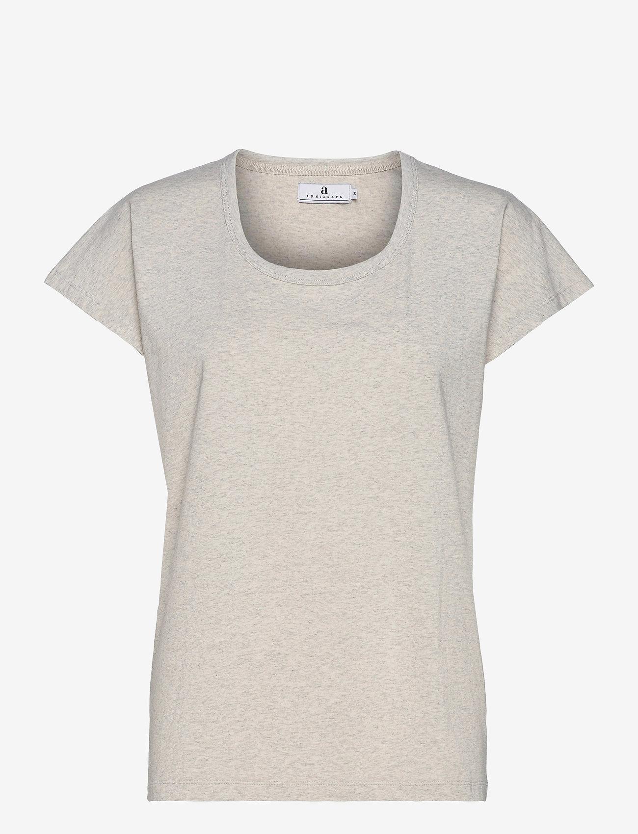 Arnie Says - Hadley Cotton - t-shirt & tops - lt grey melange - 0