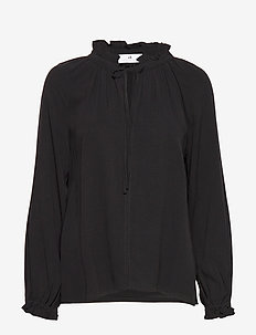 Gaia Cupro - long sleeved blouses - black