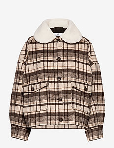 Austen Plaids - wool jackets - beige/coffee combo