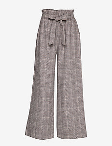 Chloe Plaids - wide leg trousers - dk brown