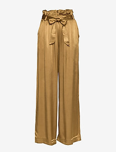 Chloe Satin - wide leg trousers - golden brown
