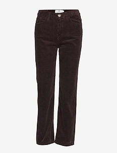 Larke Corduroy - straight leg trousers - dk brown