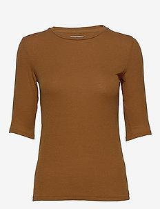 Bel Rib - basic t-shirts - caramel