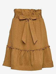 Aria Drapey - short skirts - golden brown