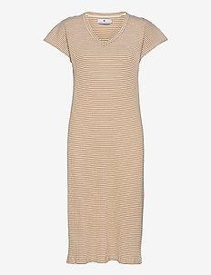Liza Stripe - summer dresses - ecru/caramel