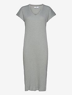 Liza Stripe - summer dresses - pale blue/ecru