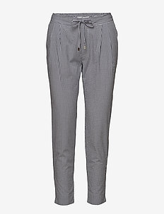 Castiel Seersucker - straight leg trousers - navy/white pepita