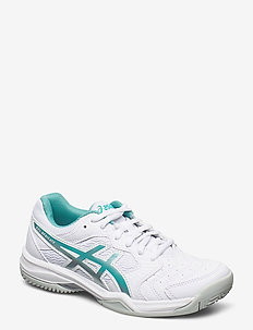 GEL-DEDICATE 6 CLAY - tennis shoes - white/techno cyan
