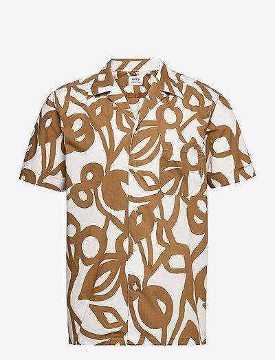 CAMICIA KINGPIN MC - linen shirts - fiore 50 beige