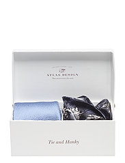 GIFT BOX TIE & HANKY - BLUE