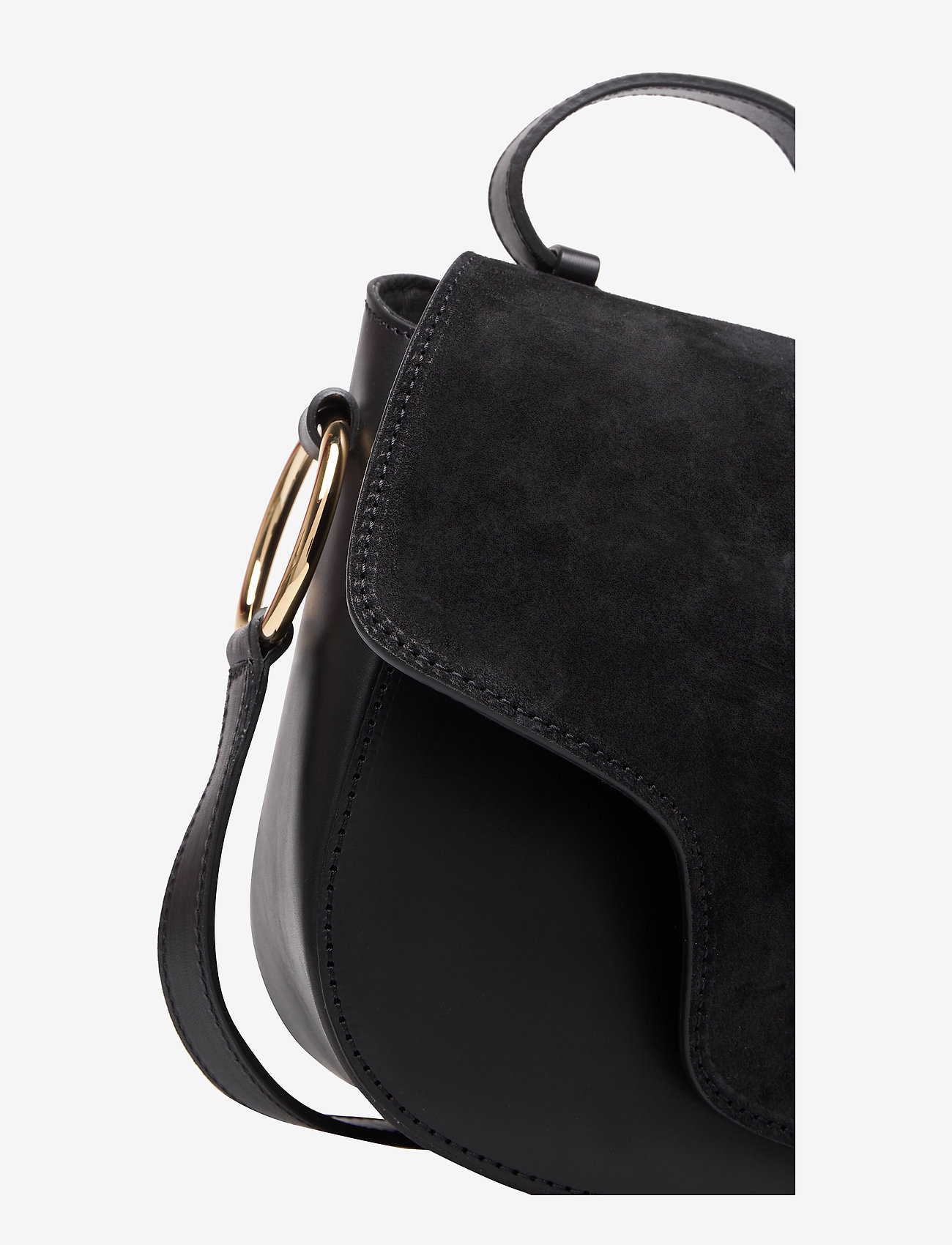 ATP Atelier - Carrara Black Suede/Vacchetta - shoulder bags - black - 3