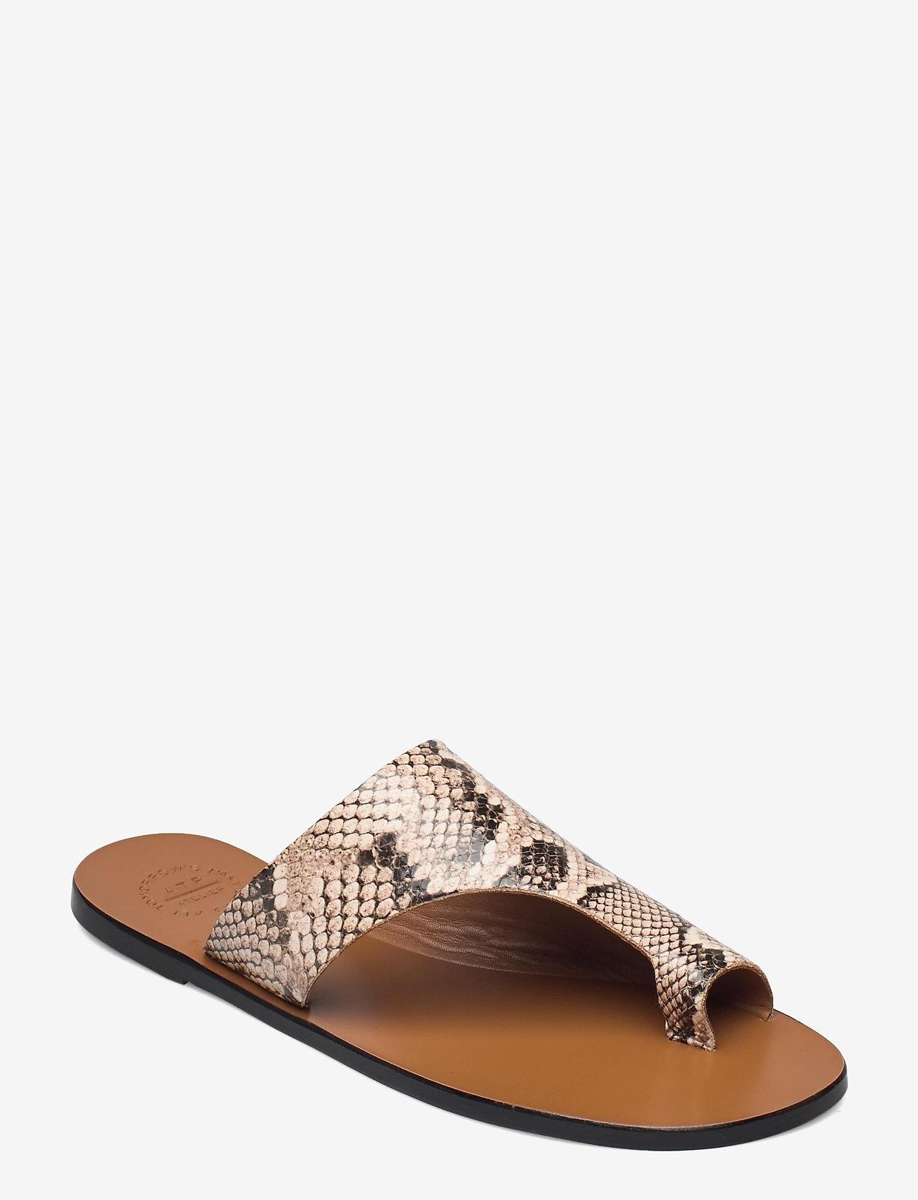 ATP Atelier - Rosa Beige Printed Snake - platta sandaler - beige - 0