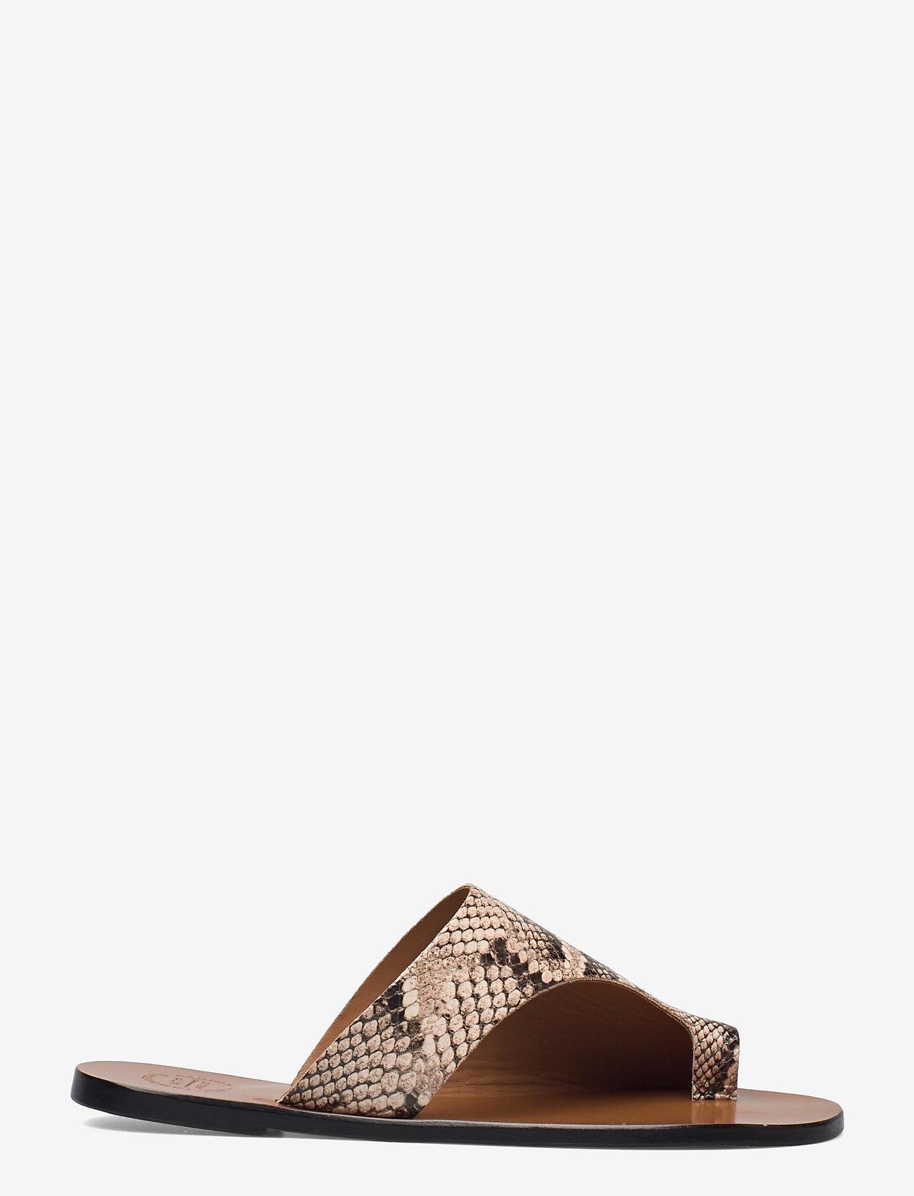 ATP Atelier - Rosa Beige Printed Snake - platta sandaler - beige - 1