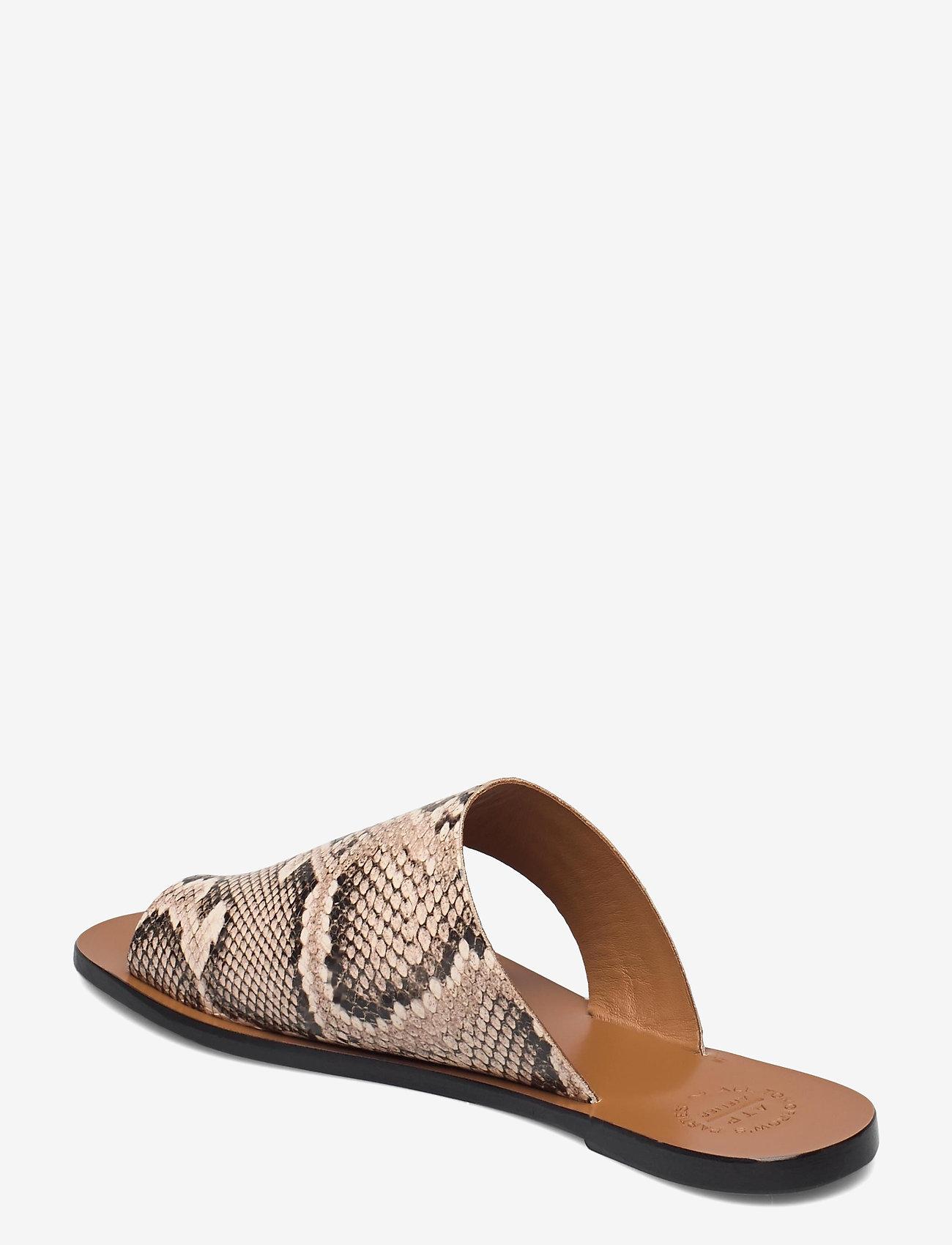 ATP Atelier - Rosa Beige Printed Snake - platta sandaler - beige - 2