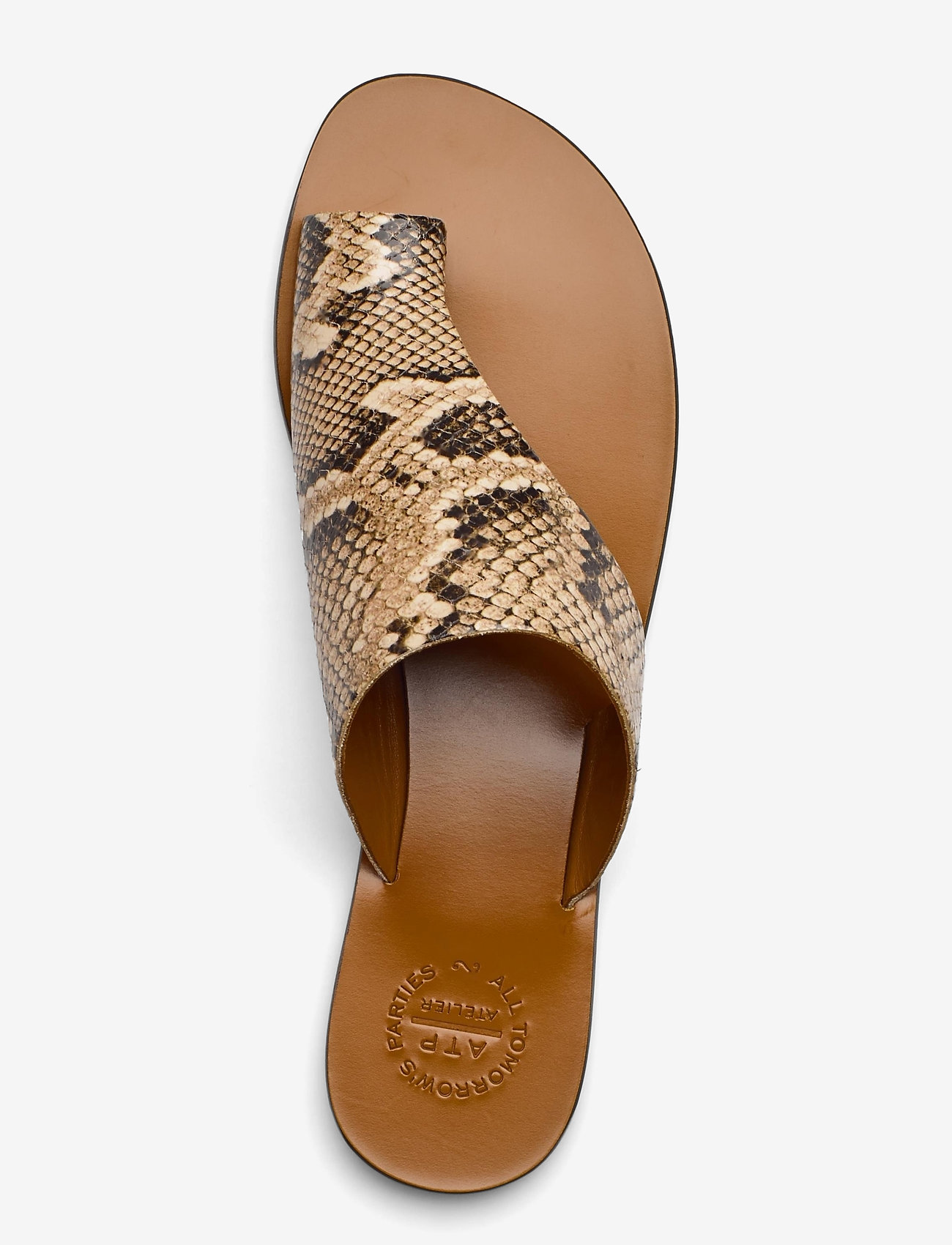 ATP Atelier - Rosa Beige Printed Snake - platta sandaler - beige - 3