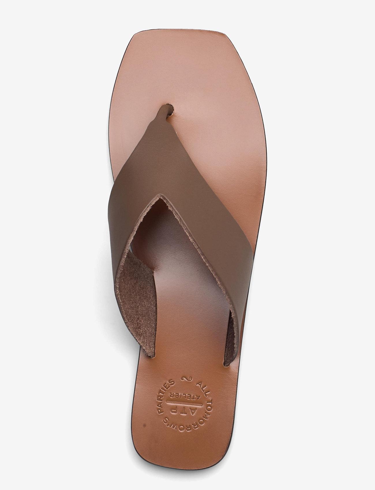 ATP Atelier - Merine Khaki Brown Vacchetta - platta sandaler - khaki brown - 3