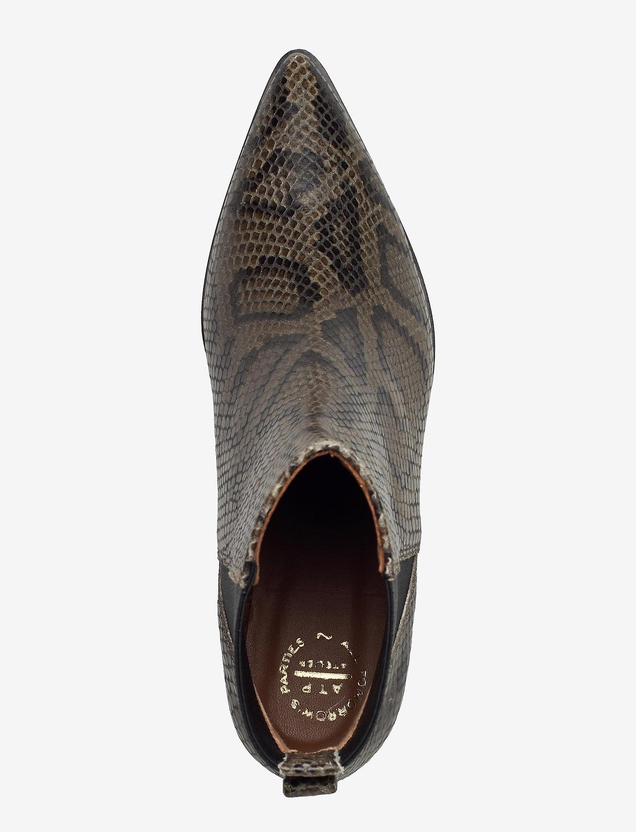 ATP Atelier - Donaci Dark Green Printed Snake - heeled ankle boots - dark green - 3