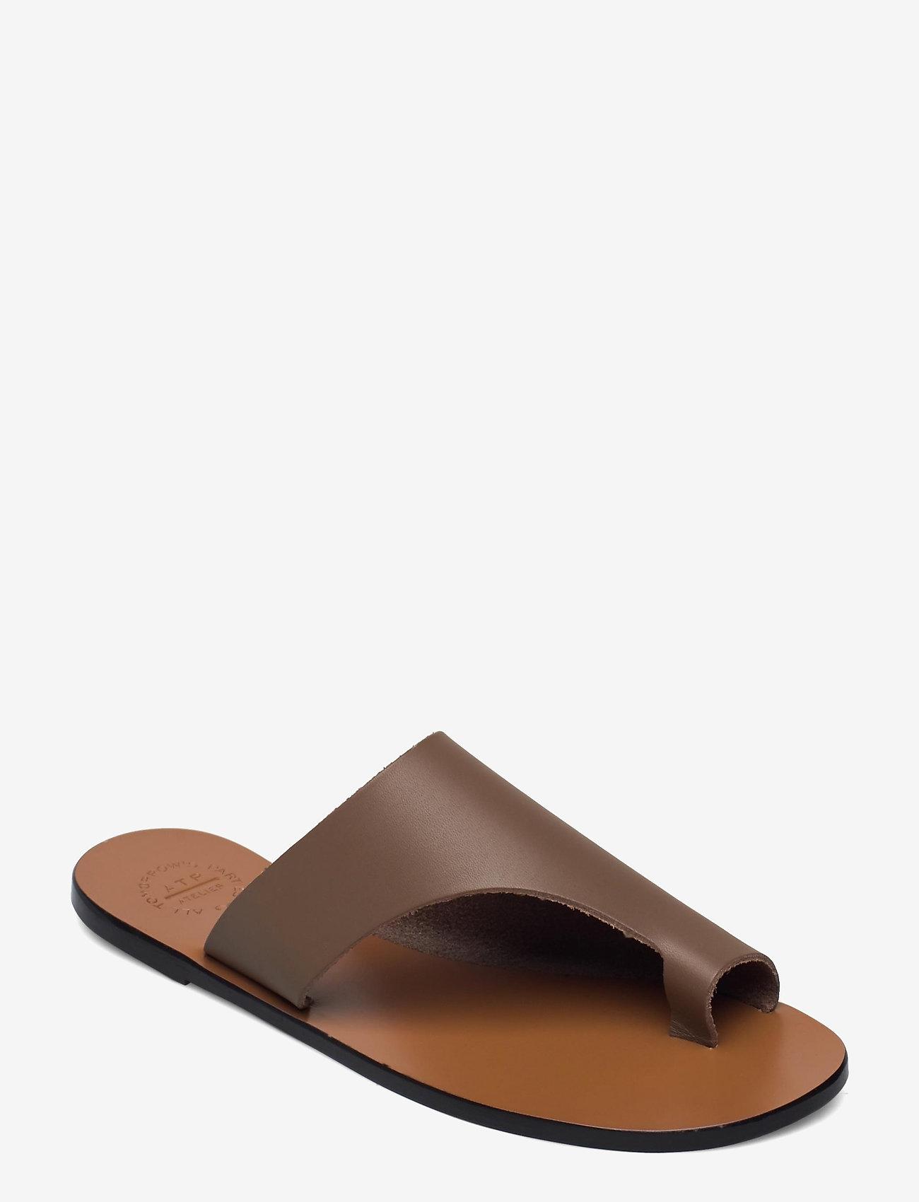 ATP Atelier - Rosa Khaki Brown Vacchetta - platta sandaler - khaki brown - 0