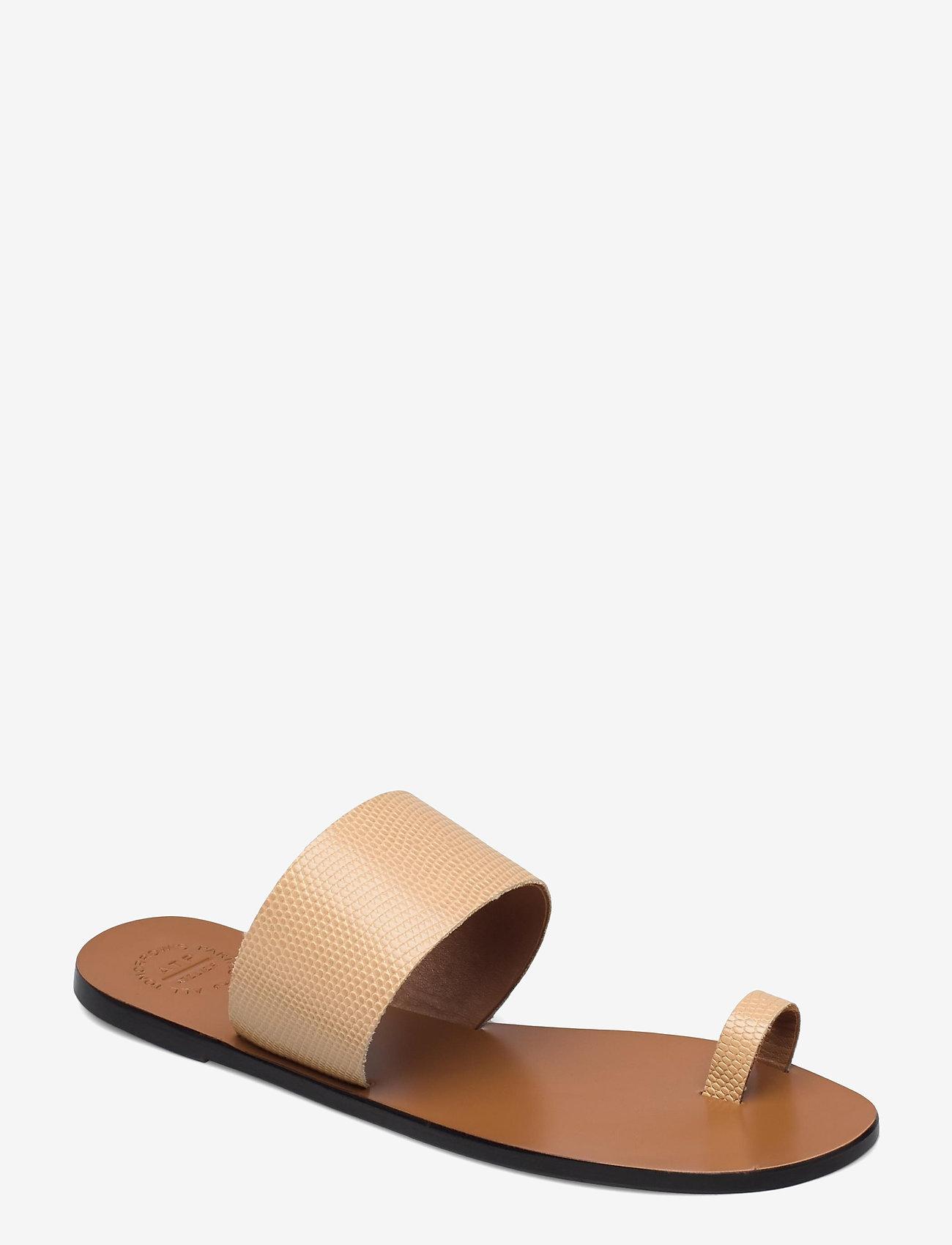 ATP Atelier - Astrid Light Beige Printed Watersnake - platta sandaler - light beige - 0