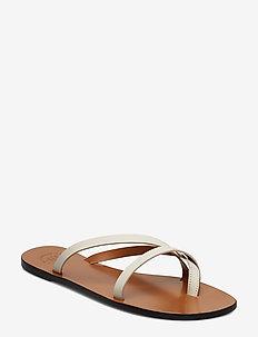 Anise Black Vacchetta - platta sandaler - ice white