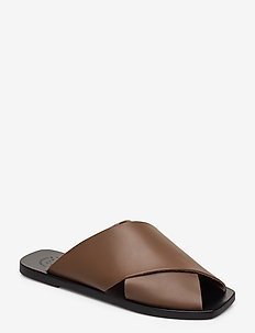 Alicia Khaki Brown Vacchetta - platta sandaler - khaki brown