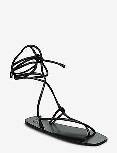 Alezio Black Nappa - platta sandaler - black