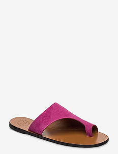 Rosa Fuxia Suede - platta sandaler - fuxia
