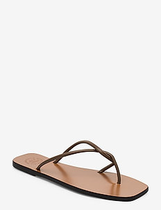 Alessano Khaki Brown Nappa - platta sandaler - khaki brown