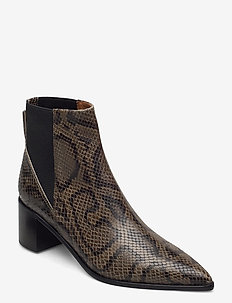 Donaci Dark Green Printed Snake - ankelstøvler med hæl - dark green