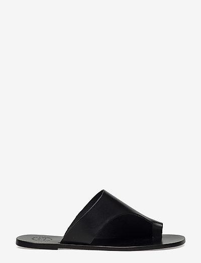 Rosa Black Vacchetta - flat sandals - black