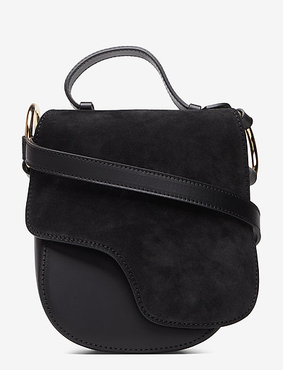 Carrara Black Suede/Vacchetta - shoulder bags - black