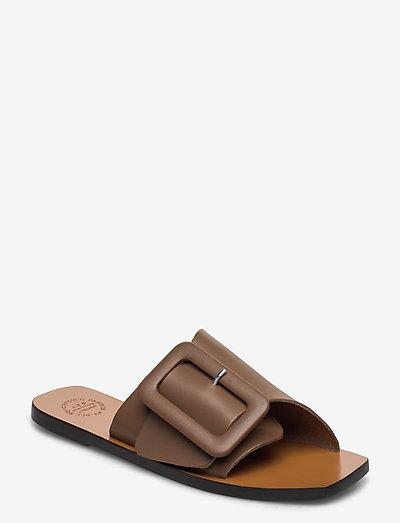 Ceci Khaki Brown Vacchetta - platta sandaler - khaki brown