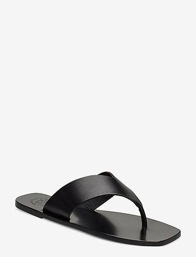 Merine Black Vacchetta - płaskie sandały - black