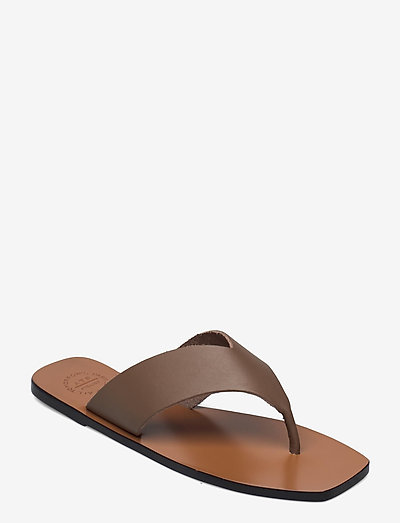 Merine Khaki Brown Vacchetta - płaskie sandały - khaki brown