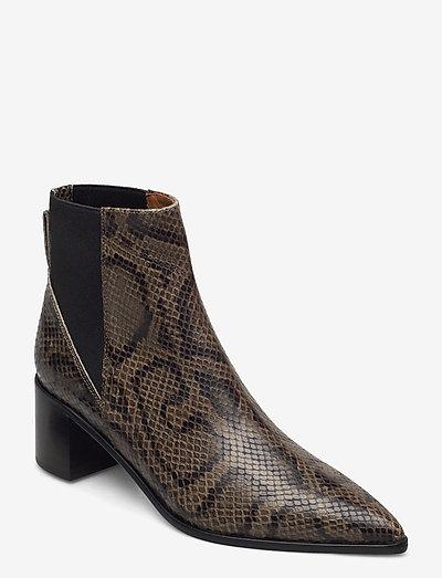 Donaci Dark Green Printed Snake - heeled ankle boots - dark green