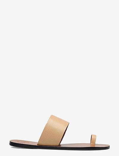 Astrid Light Beige Printed Watersnake - platta sandaler - light beige
