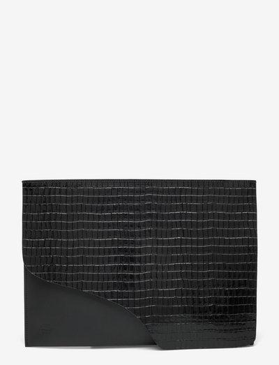 Sardegna Grande Black Printed Crocolino/Vacchetta - computer bags - black