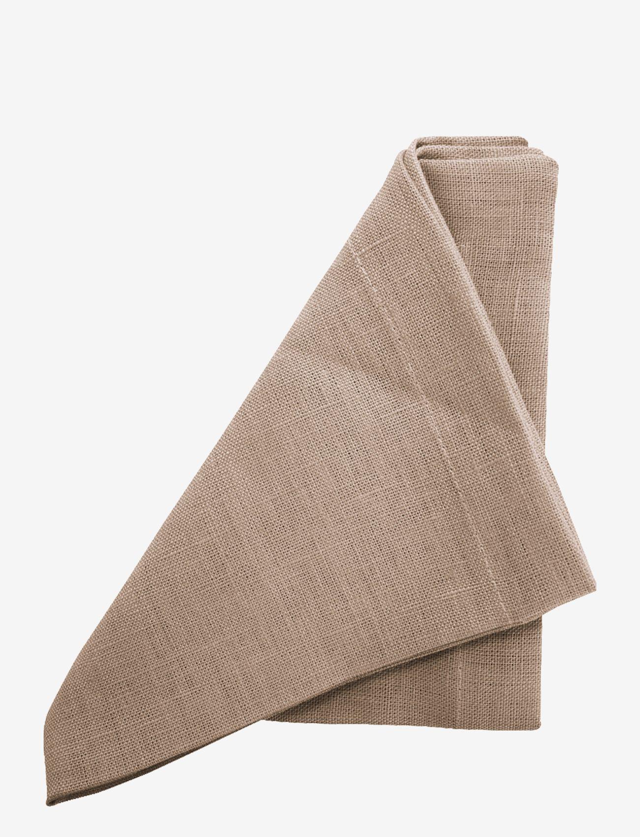 Au Maison - Napkin Linen Basic Washed (set of 4) - serveringsutstyr - camel - 0
