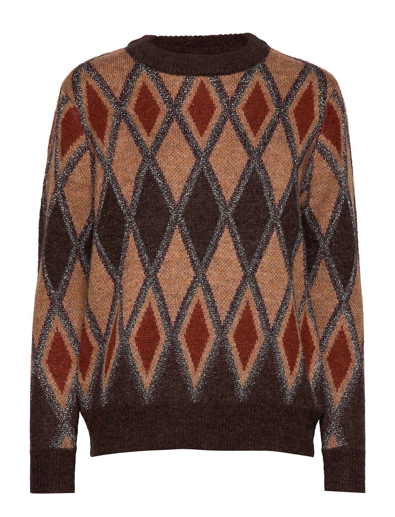 b.young BYMIKKA ARGYLE JUMPER - - CHOCOLATE BROWN COMBI