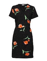 BYHAILEY WRAP DRESS - - BLACK DOT FLOWER COMBI 5