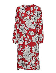 BYGABBY FLOWER WRAP DRESS - - SPICY RED COMBI 1